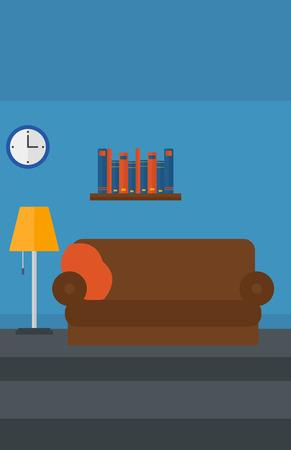 furnished: Background of furnished room vector flat design illustration. Vertical layout.