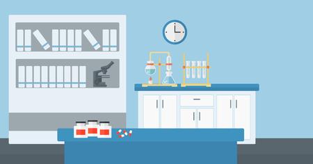 실험실 내부 벡터 평면 디자인 일러스트 레이 션의 배경입니다. 수평 레이아웃입니다. 일러스트