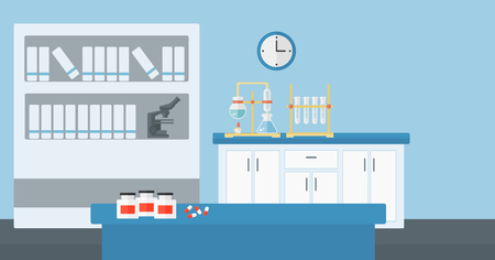 Background of laboratory interior vector flat design illustration. Horizontal layout. Çizim