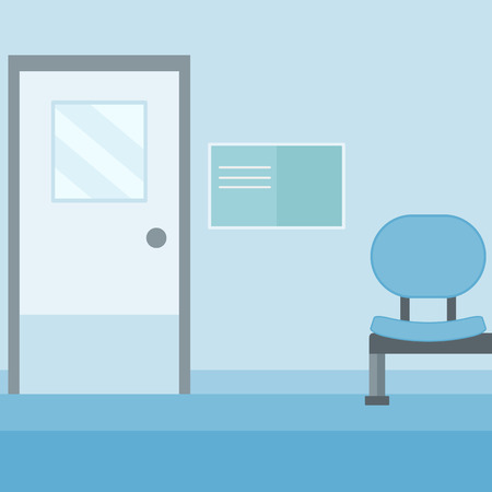 corridor: Background of hospital corridor with chair and door vector flat design illustration. Square layout.