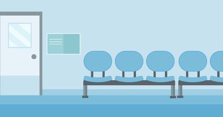 hospital dibujo animado: Antecedentes de pasillo del hospital con sillas y puerta de vector dise�o plano. disposici�n horizontal.