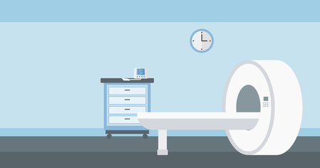 computer science: Background of hospital room with MRI machine vector flat design illustration. Horizontal layout. Illustration