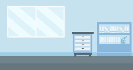 hospital caricatura: Antecedentes de vector de la oficina del doctor ilustraci�n dise�o plano. disposici�n horizontal.