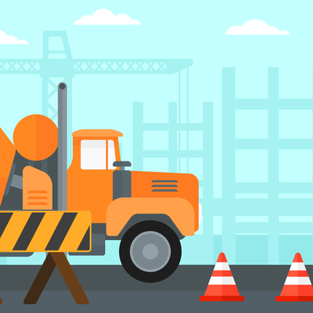 Background of construction site with concrete mixer and road barriers vector flat design illustration. Square layout. Illustration