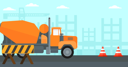 transportation facilities: Background of construction site with concrete mixer and road barriers vector flat design illustration. Horizontal layout.