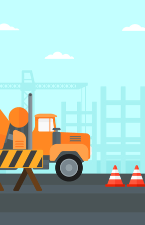 roadworks: Background of construction site with concrete mixer and road barriers vector flat design illustration. Vertical layout.