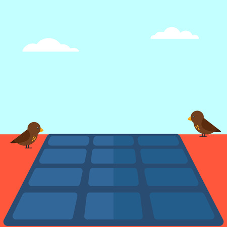 solar panel roof: Background of solar panel on the roof vector flat design illustration. Square layout. Illustration