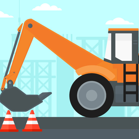 Background of construction site with excavator and traffic cones vector flat design illustration. Square layout. Illustration