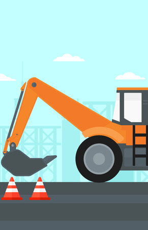 Background of construction site with excavator and traffic cones vector flat design illustration. Vertical layout.