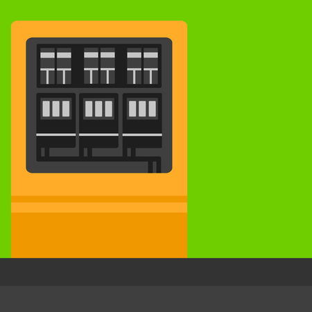 Background of electric switchboard vector flat design illustration. Square layout. Stock Illustratie