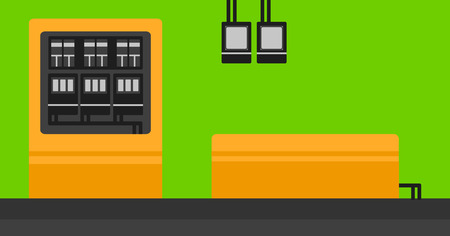 switchboard: Background of electric switchboard vector flat design illustration. Horizontal layout. Illustration