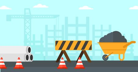 Background of construction site with road barriers and wheelbarrow vector flat design illustration. Horizontal layout. Illustration