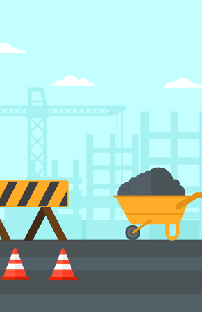 transportation facilities: Background of construction site with road barriers and wheelbarrow vector flat design illustration. Vertical layout. Illustration