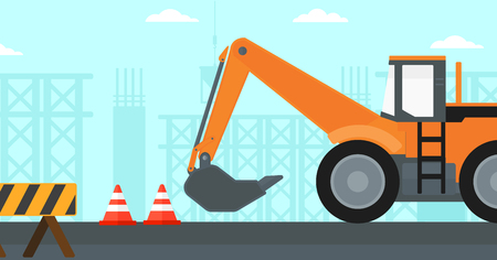 roadworks: Background of construction site with excavator and traffic cones vector flat design illustration. Horizontal layout. Illustration