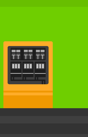 Background of electric switchboard vector flat design illustration. Vertical layout.