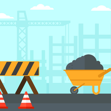 transportation facilities: Background of construction site with road barriers and wheelbarrow vector flat design illustration. Square layout.