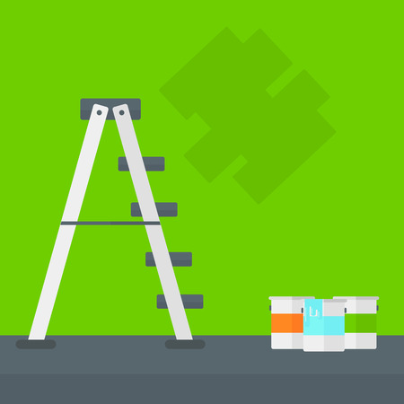 Background of green walls with paint cans and ladder vector flat design illustration. Square layout.