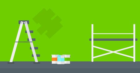 paint container: Background of green walls with paint cans and ladder vector flat design illustration. Horizontal layout.