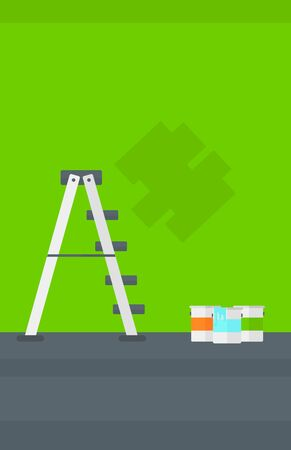 renewal: Background of green walls with paint cans and ladder vector flat design illustration. Vertical layout.