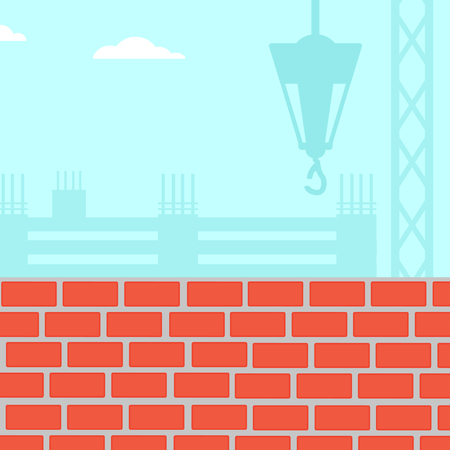 site: Background of construction site with brick wall vector flat design illustration. Square layout.