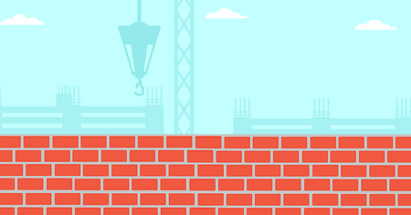 bricklaying: Background of construction site with brick wall vector flat design illustration. Horizontal layout.