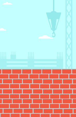 bricklaying: Background of construction site with brick wall vector flat design illustration. Vertical layout.