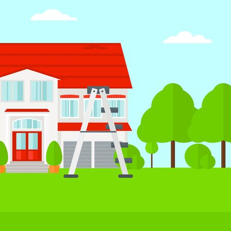 front of house: Background of house with step ladder vector flat design illustration. Square layout. Illustration