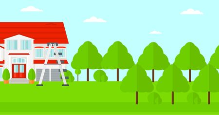 Background of house with step ladder vector flat design illustration. Horizontal layout. Иллюстрация