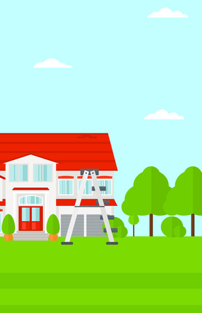 Background of house with step ladder vector flat design illustration. Vertical layout. Иллюстрация