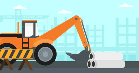 dredger: Background of excavator on construction site vector flat design illustration. Horizontal layout. Illustration