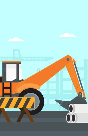 dredger: Background of excavator on construction site vector flat design illustration. Vertical layout.
