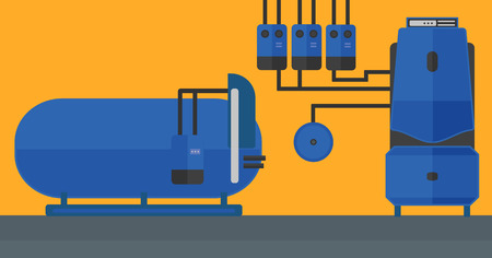 Background of domestic household boiler room with heating system and pipes vector flat design illustration. Horizontal layout.
