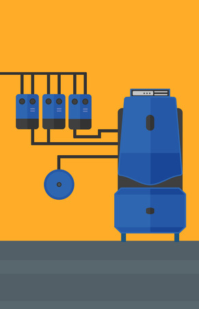 boiler room: Background of domestic household boiler room with heating system and pipes vector flat design illustration. Vertical layout.