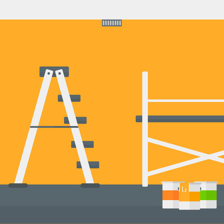 rung: Background of yellow walls with paint cans and ladder vector flat design illustration. Square layout. Illustration