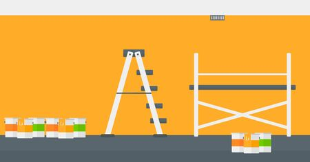 renewal: Background of yellow walls with paint cans and ladder vector flat design illustration. Horizontal layout. Illustration