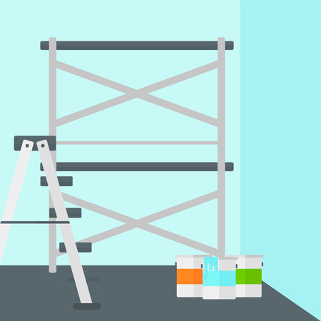 paint cans: Background of blue walls with paint cans and ladder vector flat design illustration. Square layout.