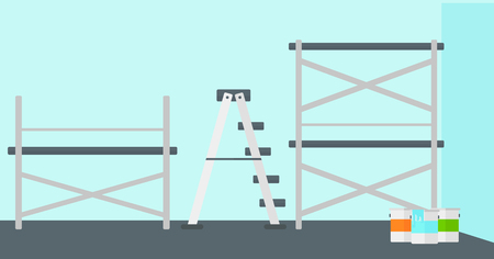 renewal: Background of blue walls with paint cans and ladder vector flat design illustration. Horizontal layout.