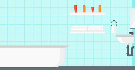 Background of private bathroom vector flat design illustration. Horizontal layout.