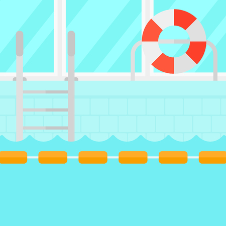 poolside: Background of swimming pool vector flat design illustration. Square layout.