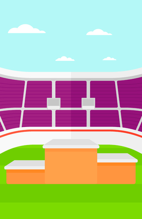 Background of stadium with podium for winners vector flat design illustration. Vertical layout.