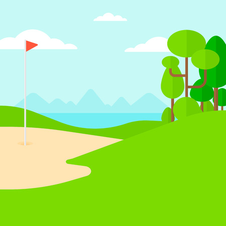 cartoon land: Background of golf field vector flat design illustration. Square layout. Illustration