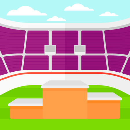 Background of stadium with podium for winners vector flat design illustration. Square layout.