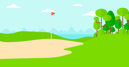 golf field: Background of golf field vector flat design illustration. Horizontal layout.