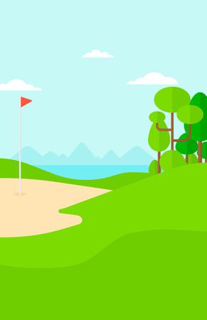 golf field: Background of golf field vector flat design illustration. Vertical layout. Illustration