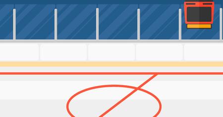 horizontal: Background of hockey stadium vector flat design illustration. Horizontal layout.
