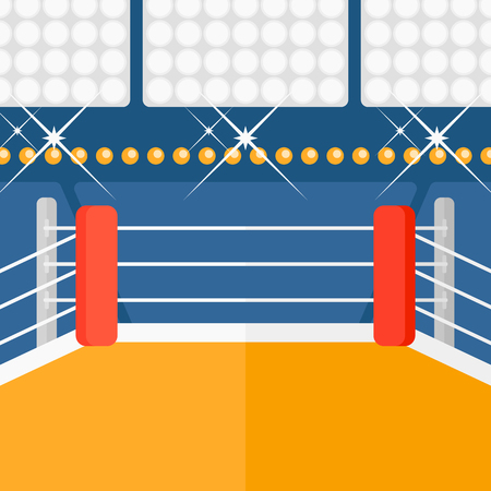 Background of boxing ring vector flat design illustration. Square layout. 向量圖像