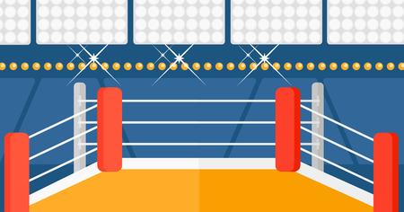 Antecedentes de ring de boxeo ilustración vectorial diseño plano. disposición horizontal.