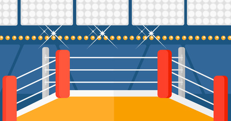 area of conflict: Background of boxing ring vector flat design illustration. Horizontal layout.