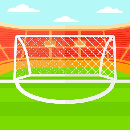 サッカー スタジアム ベクトル フラット デザイン イラストの背景。正方形のレイアウト。  イラスト・ベクター素材