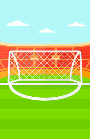 soccer stadium: Background of soccer stadium vector flat design illustration. Vertical layout. Illustration